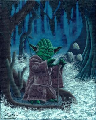 Jedi Master Yoda on Dagobah - Oil on Canvas