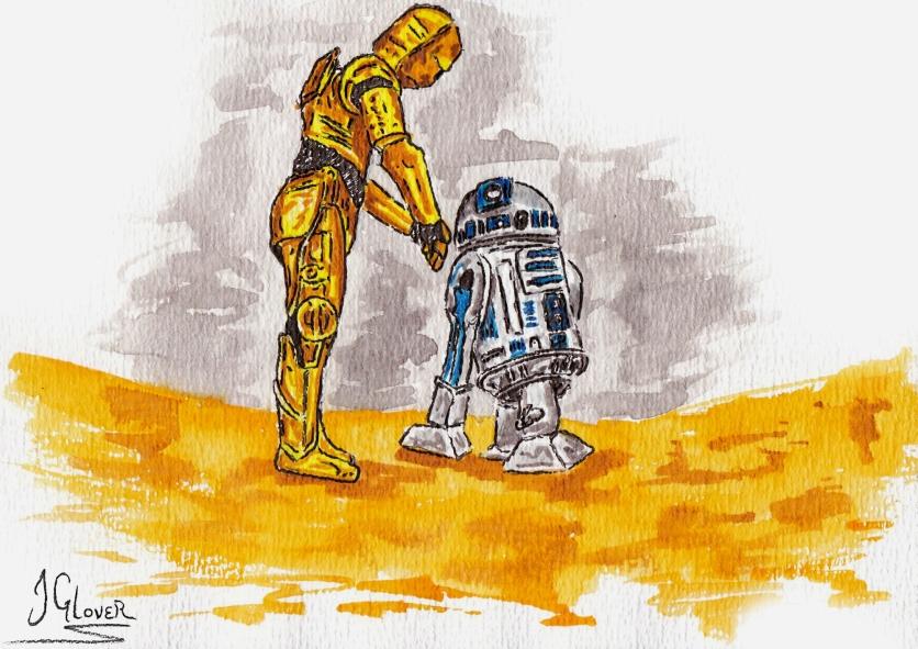 """""""How Did We Get Into This Mess?"""" C-3PO & R2D2 Land on Tatooine - Watercolour"""