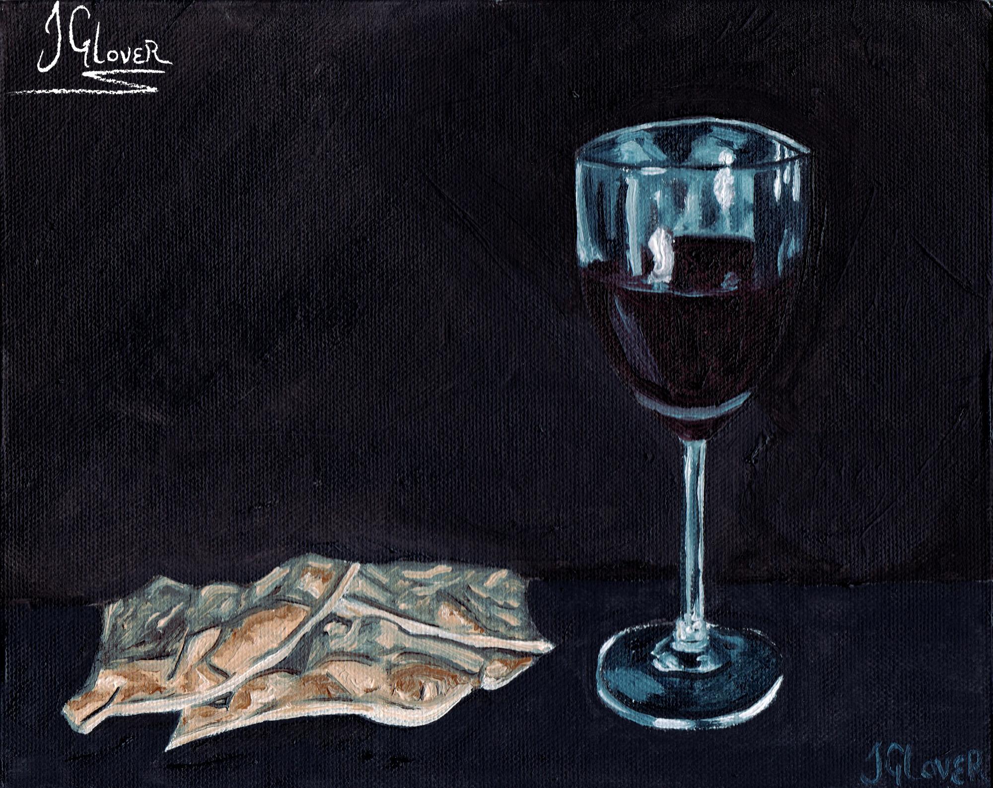 Christian - art - illustration - religious - painting - oil - alla prima - still life - wine - bread - memorial - glass