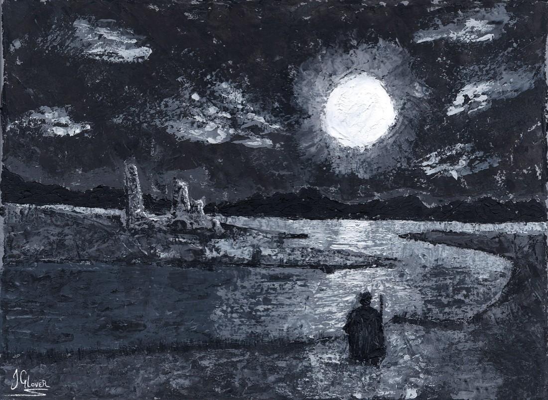 Nocturnal Sun - Palette Knife Oil Painting Fantasy Art Illustrat