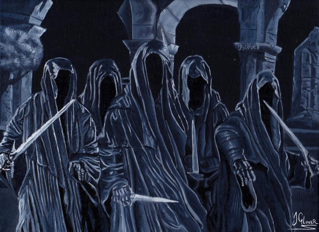 Ringwraiths-wraiths-nazgul-weathertop-ruins-middle-earth-tolkien-oil-painting-art-illustration
