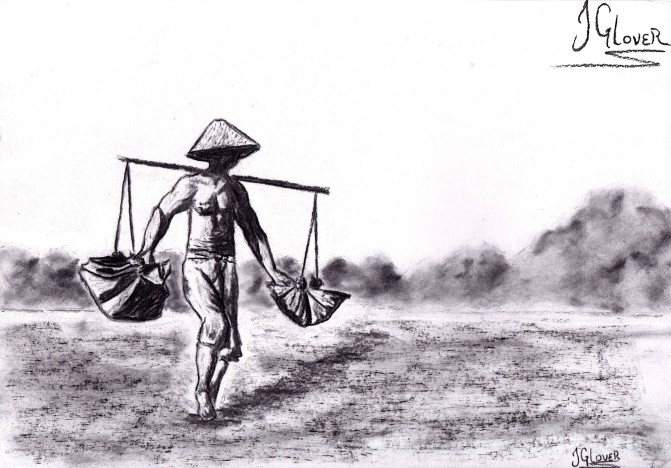 indonesia - asia - salt - farmer - bali - balinese - culture - travel - art - illustration - fine art