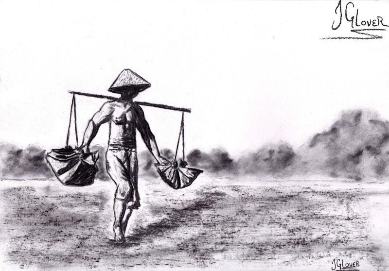 indonesia - asia - salt - farmer - bali - balinese - culture - travel - art - illustration - fine art
