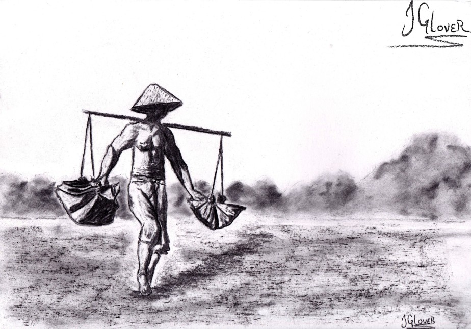Balinese Salt Farmer – Charcoal Drawing