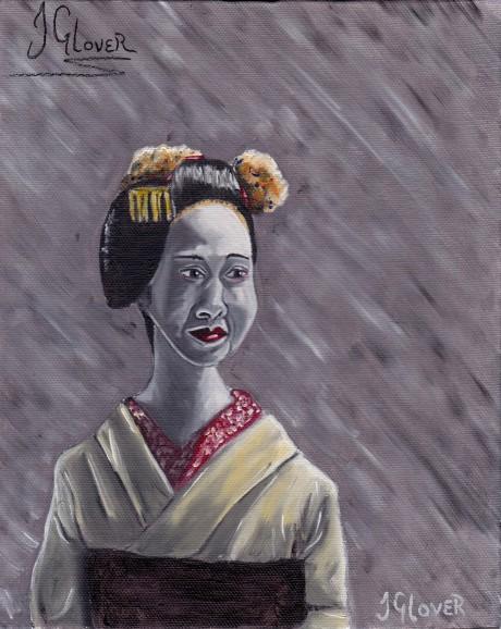 geisha girl portrait painting fantasy art illustration history kyoto japanese culture