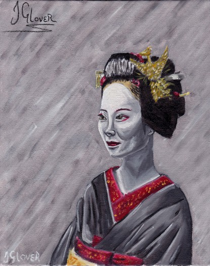 geisha girl geiko maiko oil painting portrait fantasy art illustration fine art contemporary