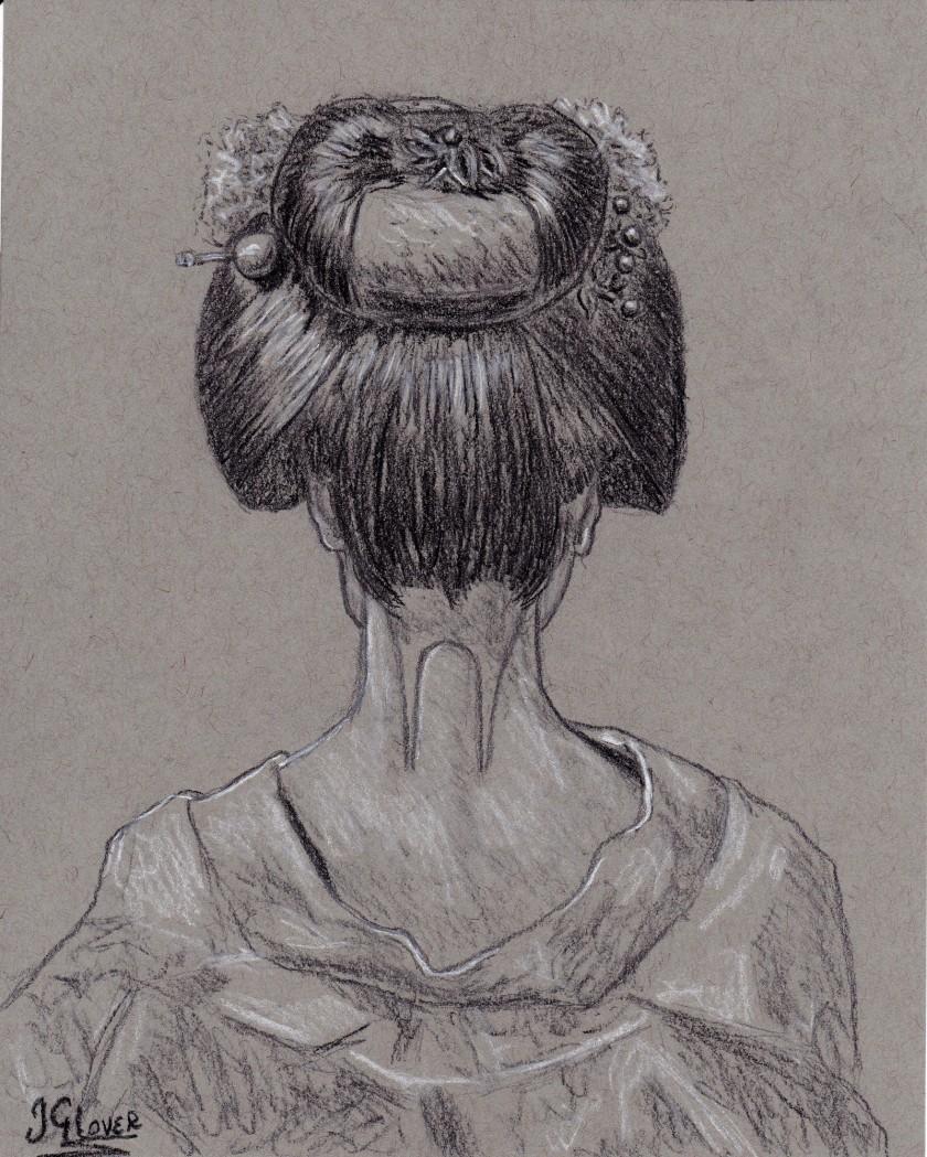 geisha - girl - portrait - charcoal drawing - art - fine art - contemporary - art - illustration - figure - japanese - culture