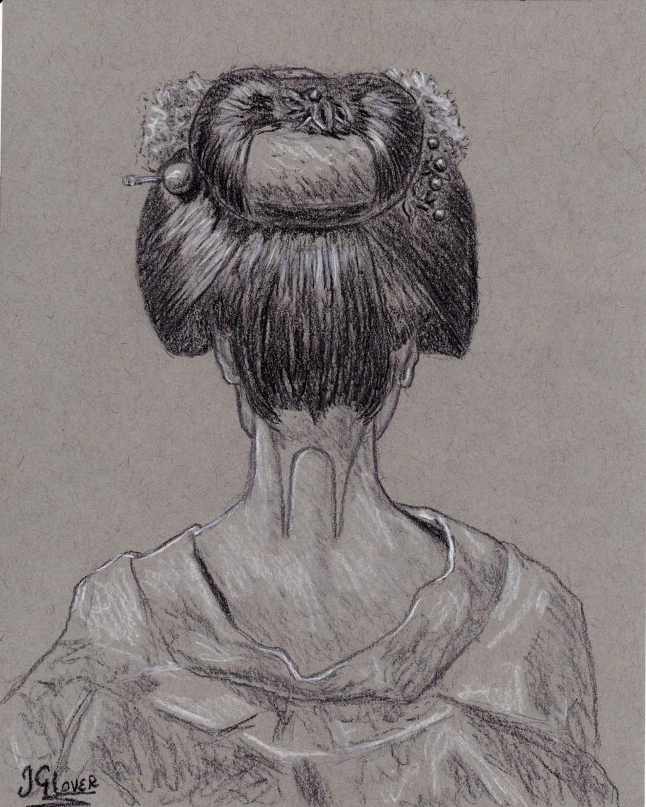 Geisha Girl Portrait – Hanako – Charcoal PreliminaryDrawing