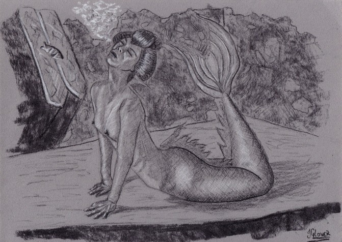 Geisha - mermaid - mermay - illustration - drawing - charcoal - portrait - figure drawing - fine art - nude