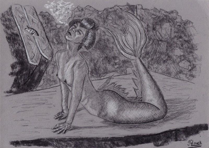 Geisha - mermaid - mermay - illustration - drawing - charcoal - portrait - figure drawing - fine art - nude