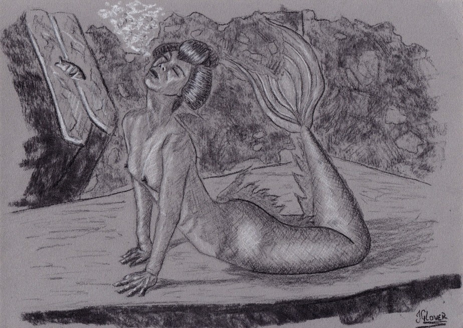 Geisha Mermaid – Charcoal Drawing – Mermay 2020 Illustration