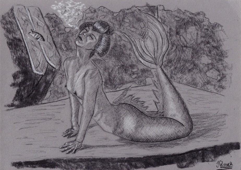 Geisha Mermaid – Charcoal Drawing – Mermay 2020Illustration