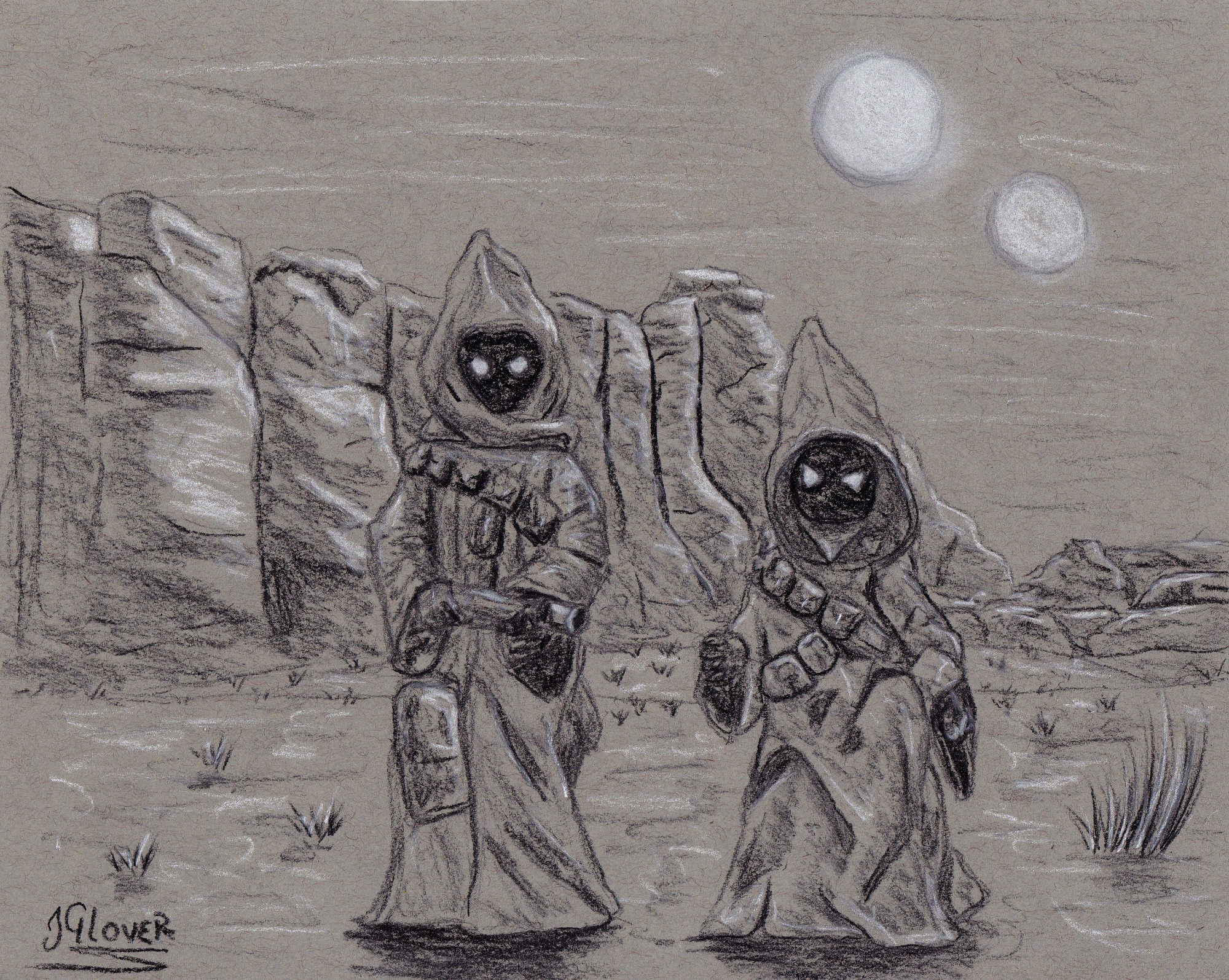 jawas - tatooine - star wars - illustration - art - charcoal - drawing