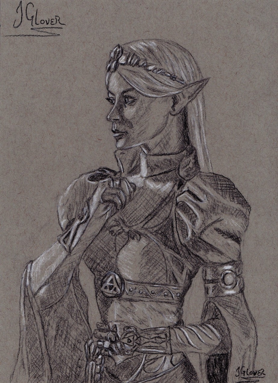 Princess Zelda – Charcoal Portrait Drawing – Fine Art – Illustration