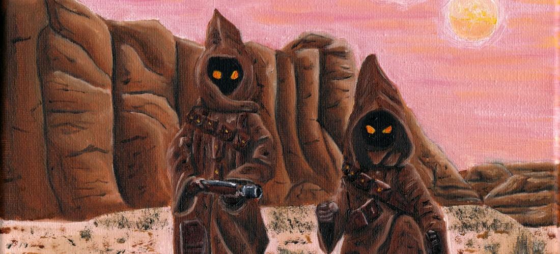 jawas - star wars - the mandalorian - baby yoda - disney - illustration - oil painting - art
