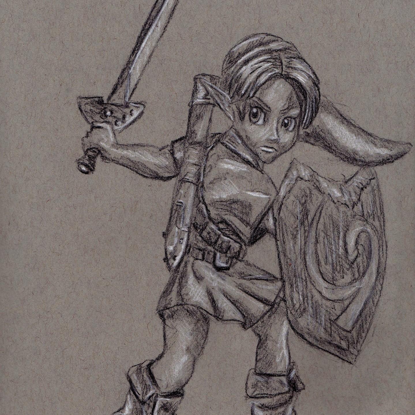 link - legend of zelda - zelda - art - drawing - fine art - manga - illustration