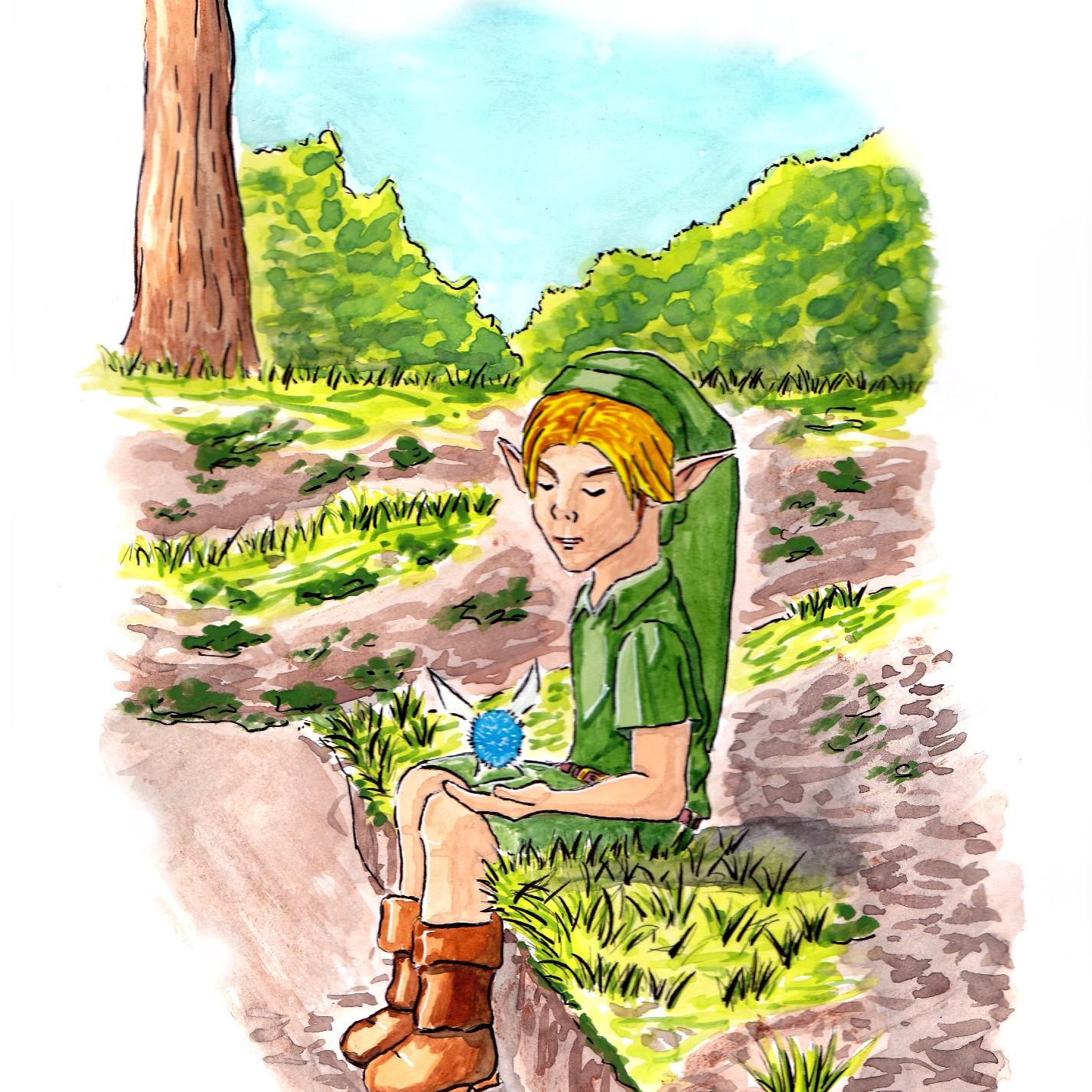 link - legend of zelda -navi - fairy - kokiri - drawing - illustration - retro - games