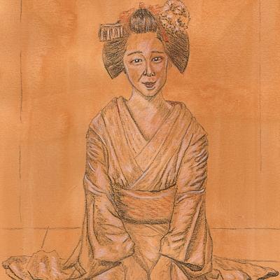 japanese geisha fine art drawing model reference original