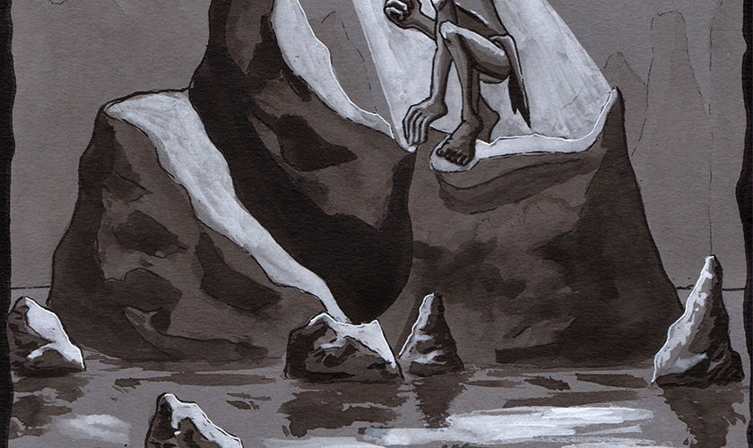 Japanese - Ink - Brush - Drawing - Gollum - Cave - Lord of the Rings - Ring - Water - Light - Sumi-e