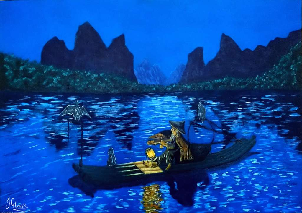 Cormorant fisherman on lake in boat night time nocturne blue oil paint