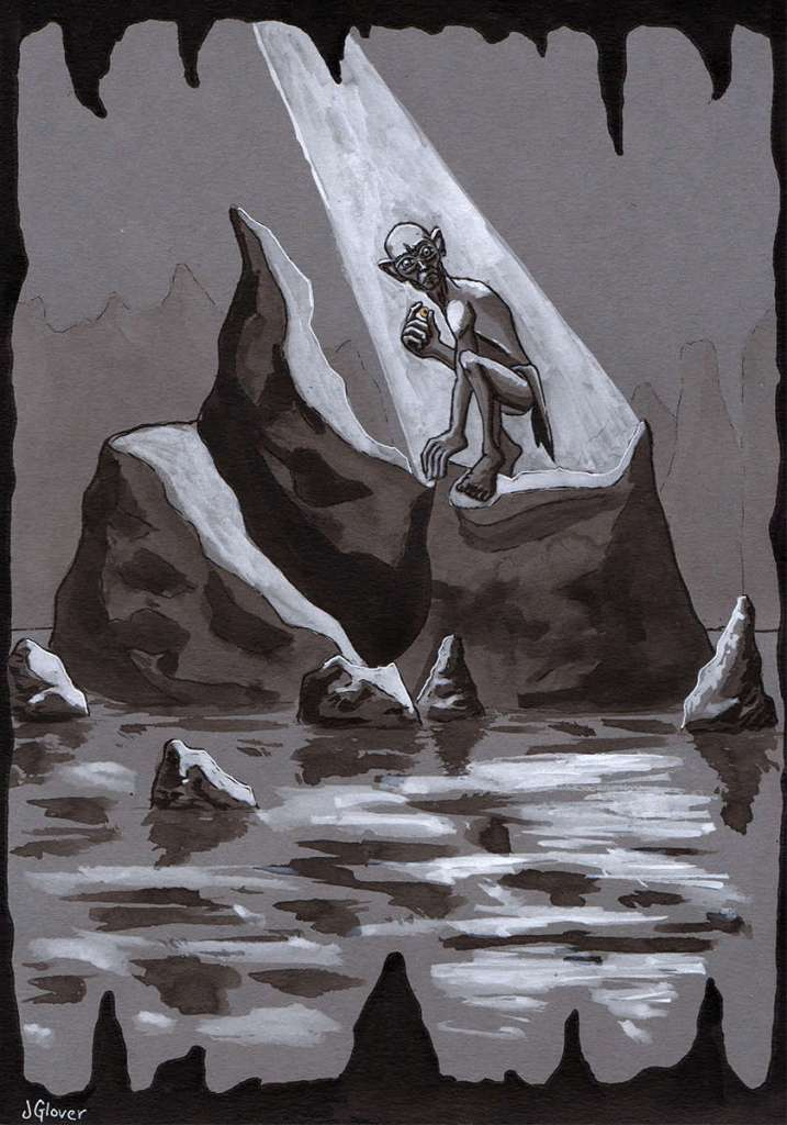 Gollum in his cave smeagol one ring the hobbit lord of the rings art illustration sumi-e ink style