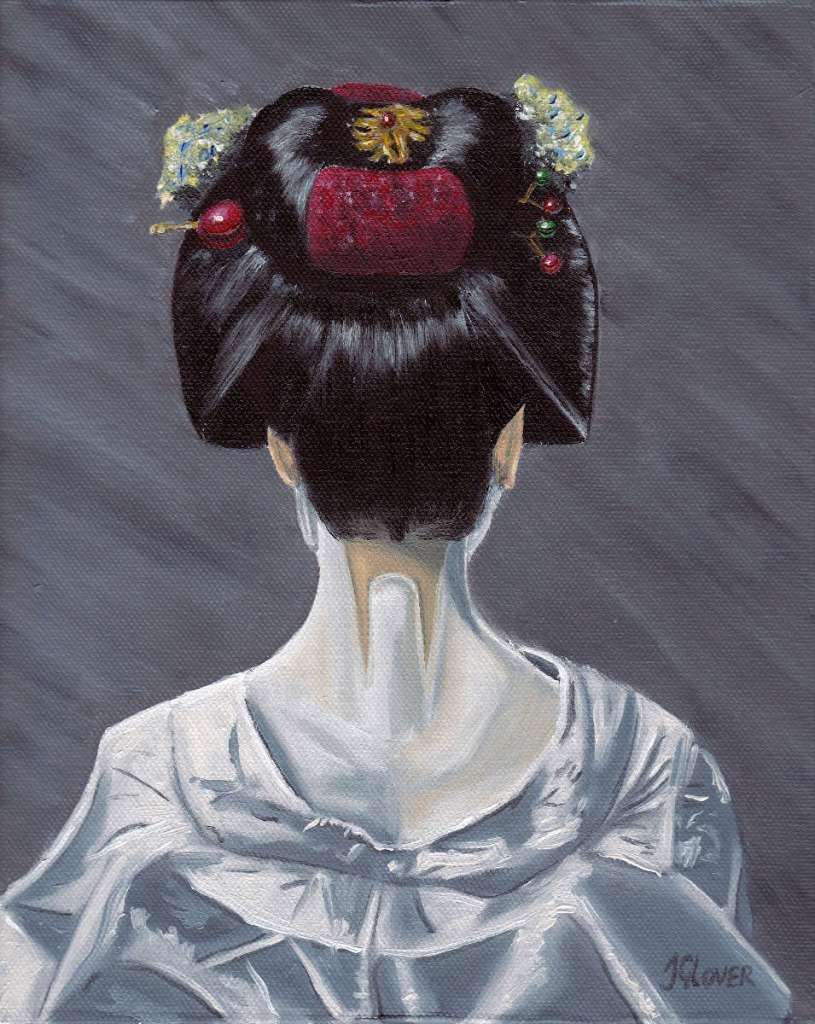 Oil paint portrait of Japanese Geisha Girl london kyoto japan beautiful hair style