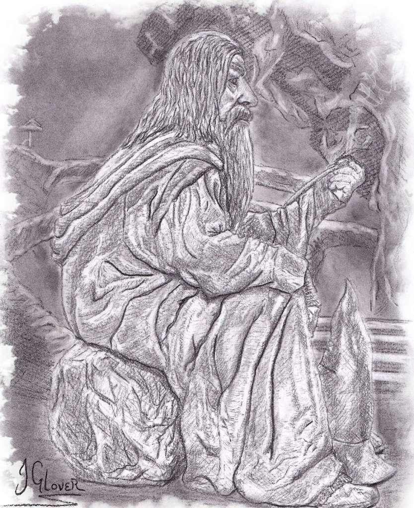 Gandalf in moria smoking pipe thinking memory lord of the rings art illustration john howe alan lee