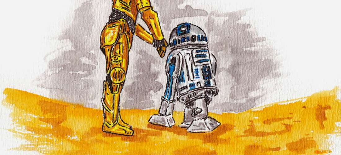 Star wars droids art c-3po and r2d2 in desert landscape illustration