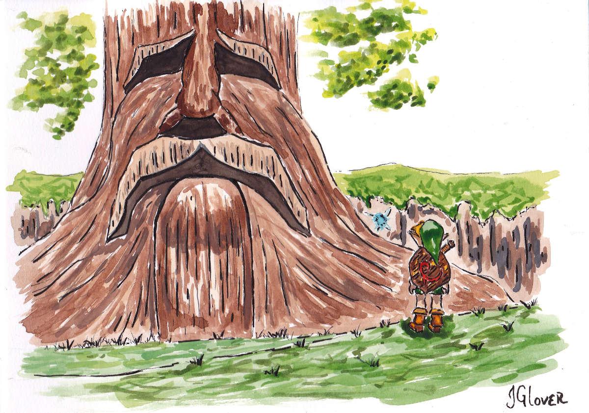 Link legend of zelda ocarina of time great deku tree illustration art drawing
