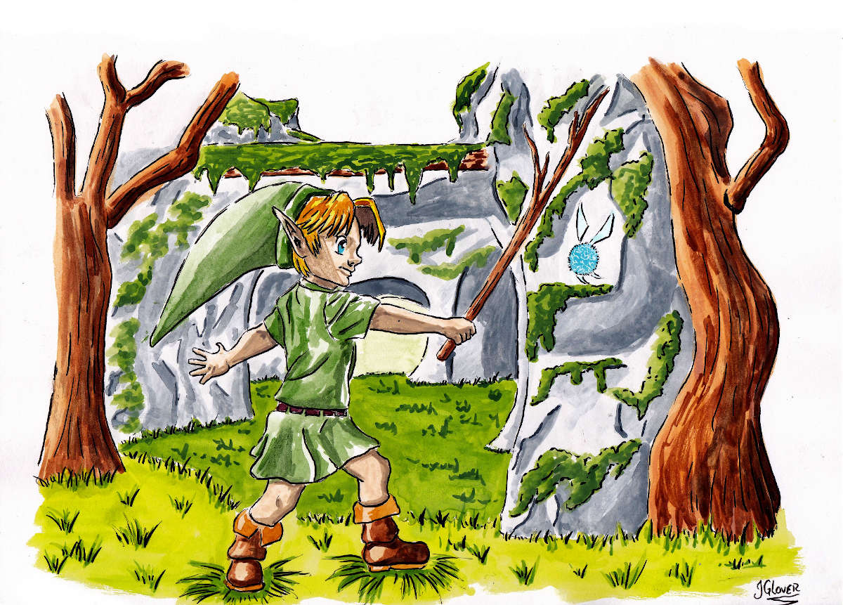 Link legend of zelda ocarina of time navi sword deku stick illustration art