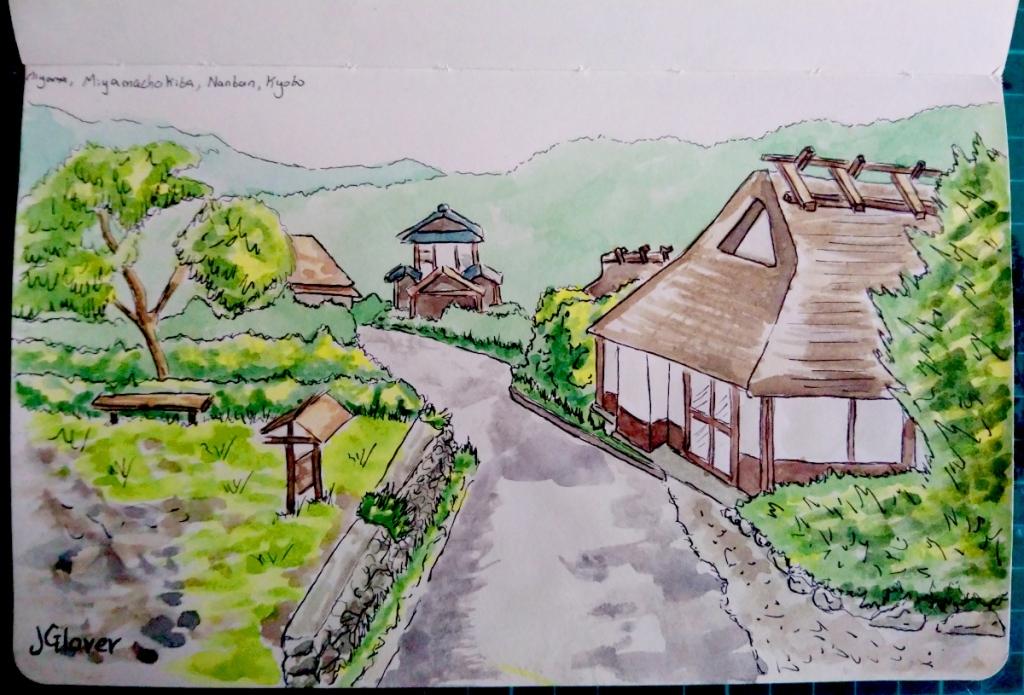 Ink and Watercolour sketchbook drawing of Miyamo village kyoto historic traditional Japan
