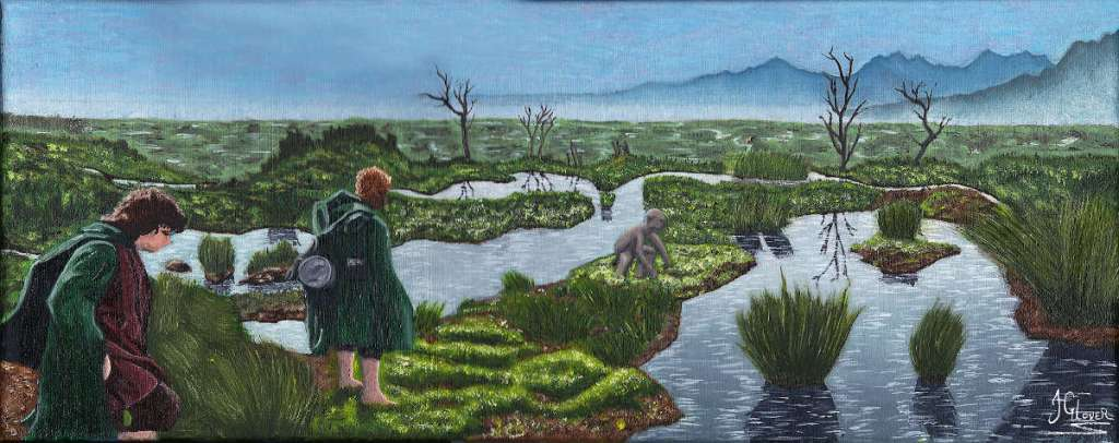 Frodo Sam and Gollum crossing the dead marshes mordor lord of the rings art