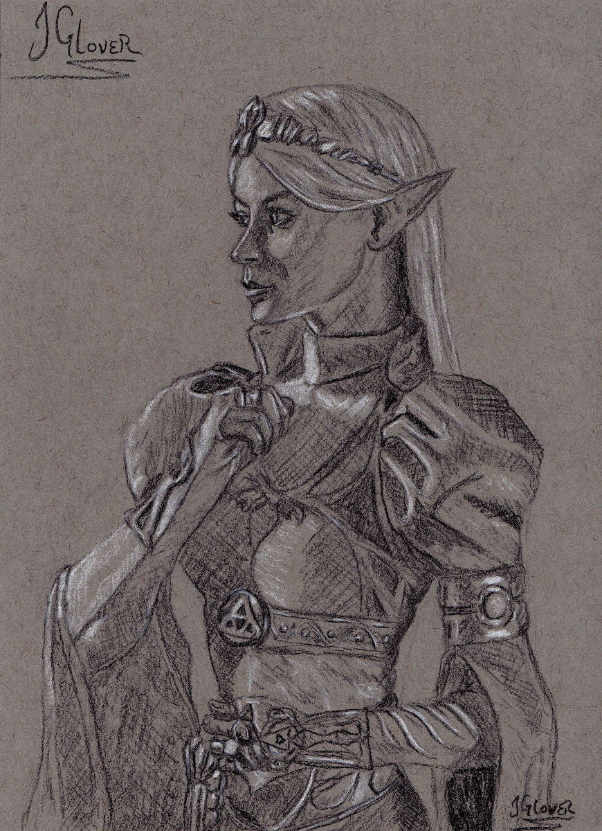 Princess Zelda - twilight princess - Charcoal - Portrait - Drawing - Illustration - Renaissance - Fine Art - JGlover