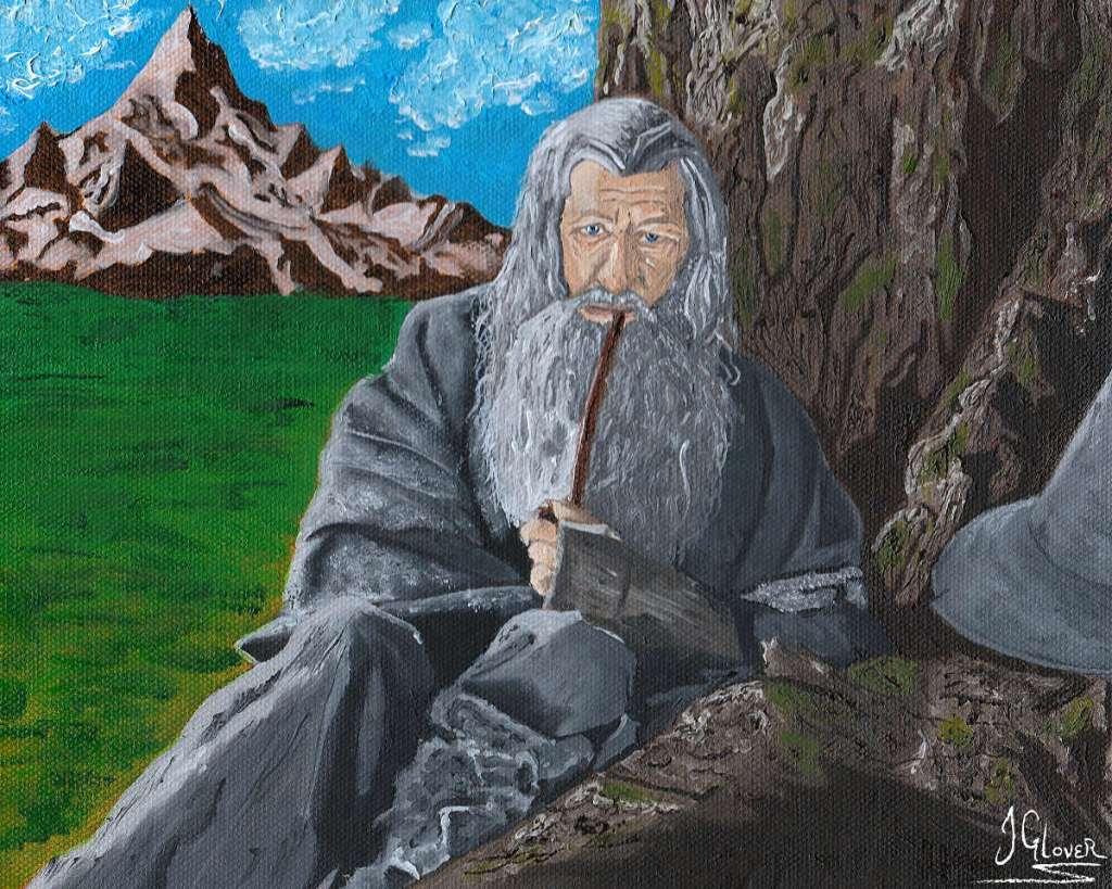 Oil paint portrait of gandalf the grey lord of the rings art jrr tolkien john howe alan lee