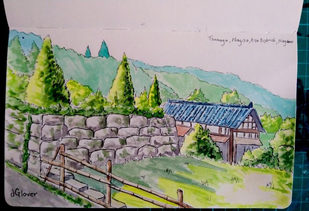 Ink and Watercolour sketchbook drawing of Tsumago Nagano historic traditional Japan