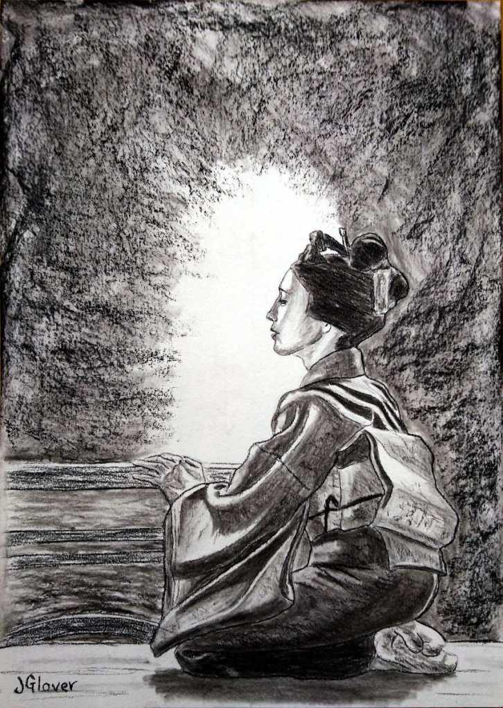 kneeling seated japanese geisha girl original charcoal drawing essex london fine art kyoto gion jglover