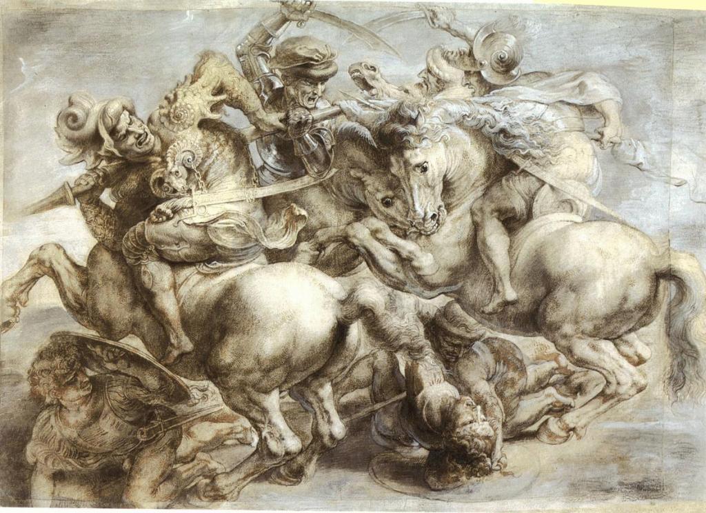 Leonardo da vinci - painting - frescoe - art - renaissance - florence - hall of the five hundred - horses - warriors - soldiers