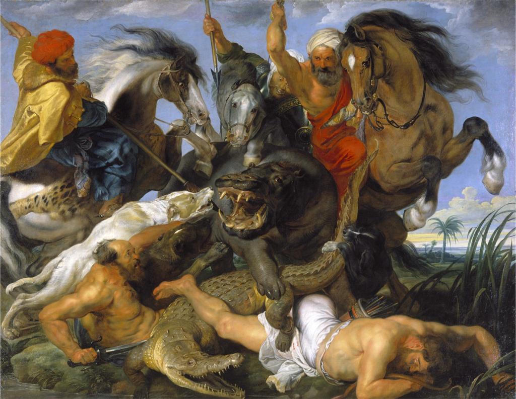 Rubens oil painting of men fighting hunting hunters crocodiles horses hippos spears