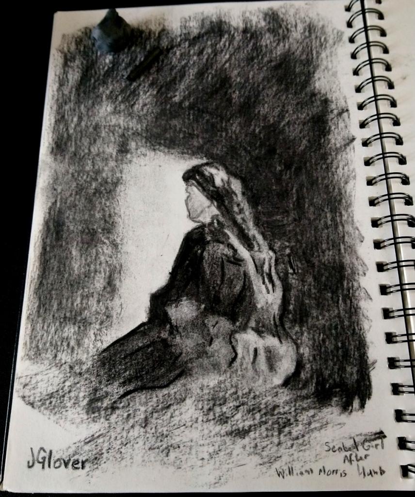 Seated woman charcoal figure drawing jglover essex london art artist fine art
