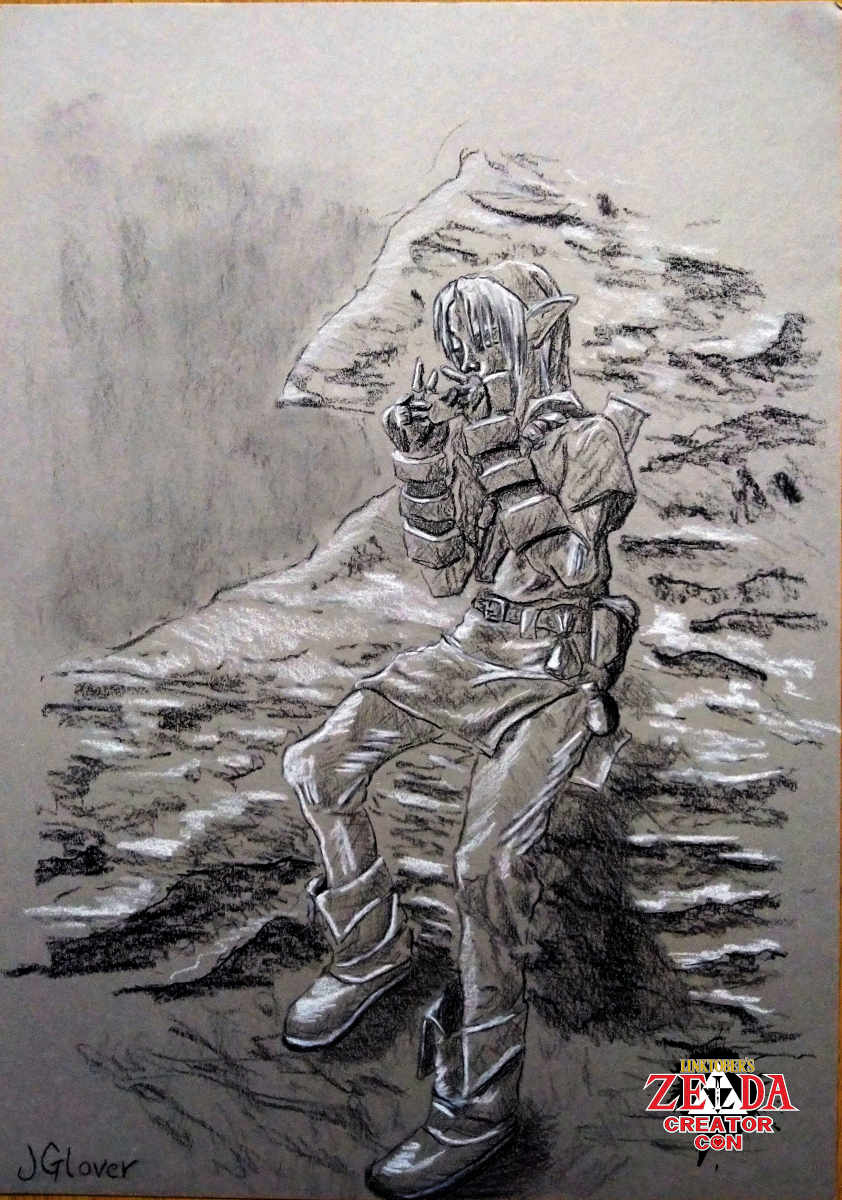 Charcoal drawing of adult link playing ocarina of time legend of zelda art illustration
