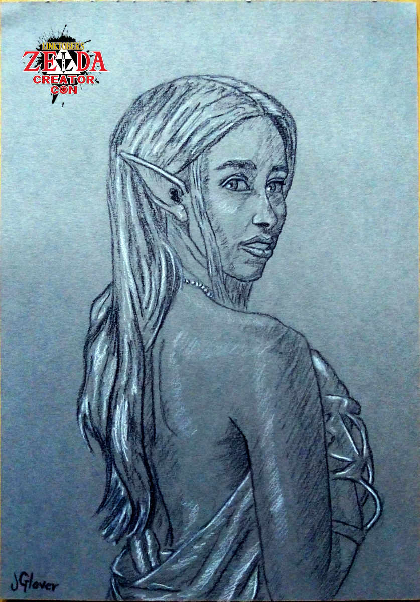 Charcoal portrait drawing of Princess Zelda Legend of Zelda Art Illustration