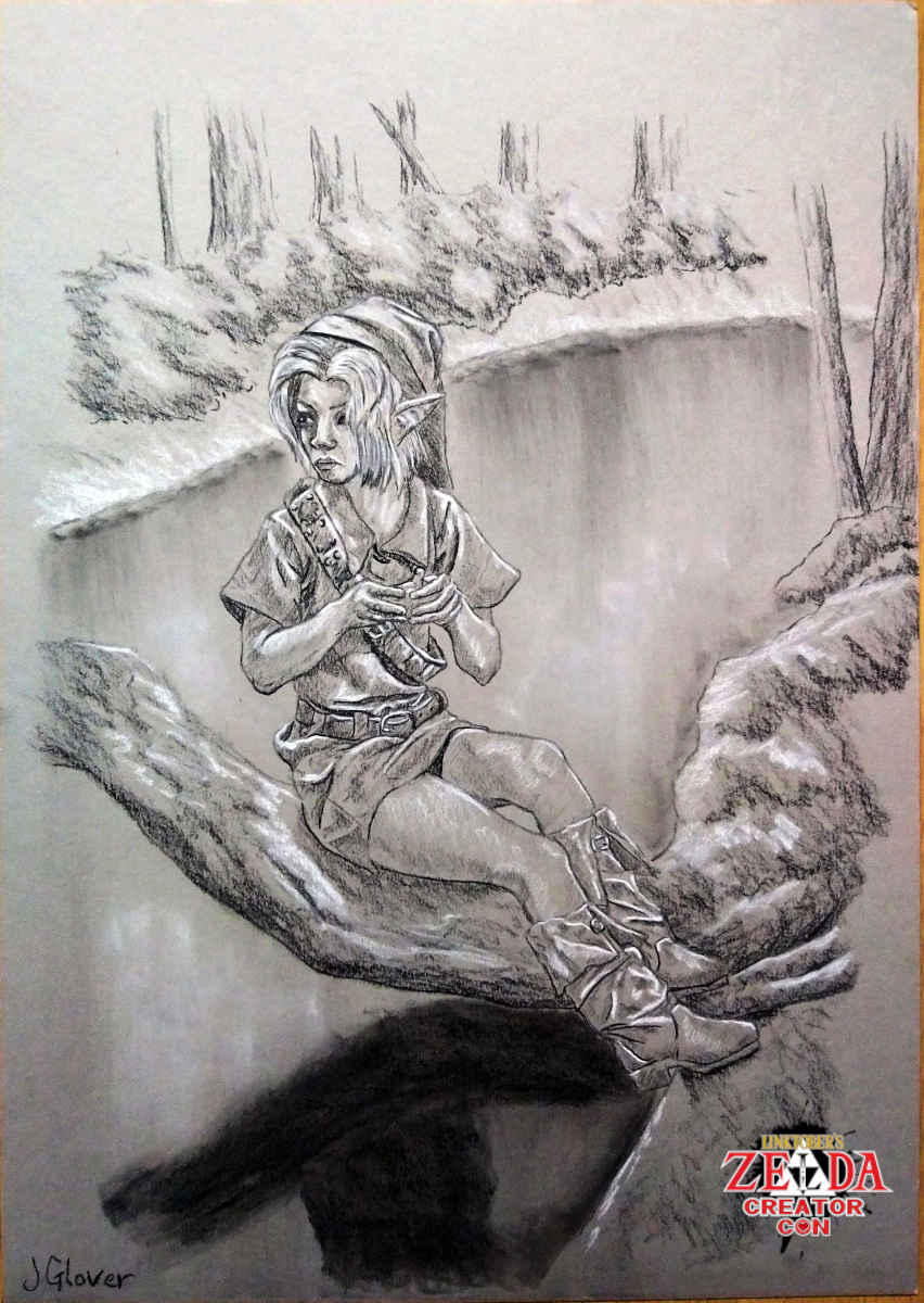 Charcoal drawing of young link playing ocarina of time lake water trees art illustration legend of zelda