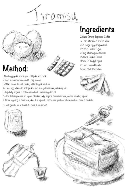 rough sketch illustrated tiramisu recipe procreate pencil drawing