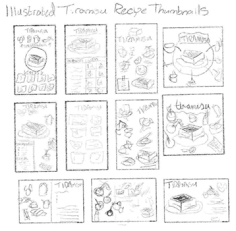 Thumbnail sketches illustrated tiramisu recipe procreate drawing