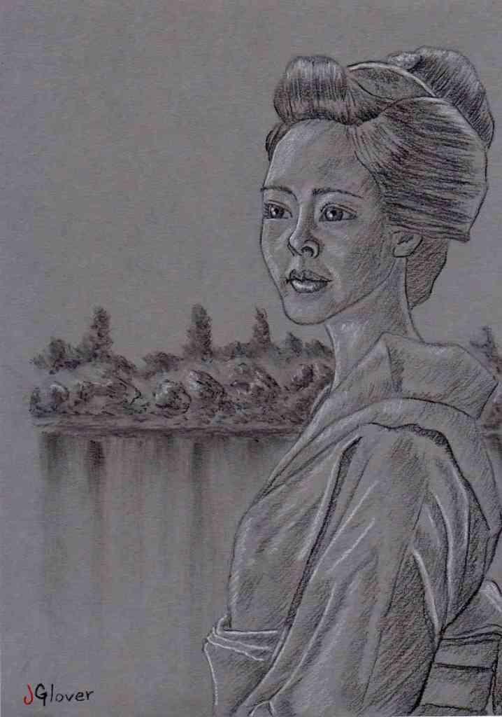 charcoal portrait drawing japanese geisha girl landscape background water lake beautiful art