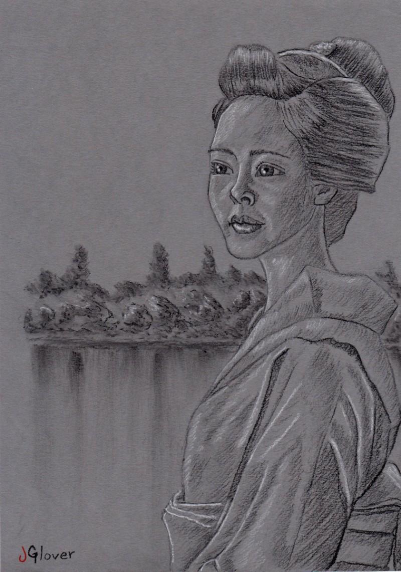 Japanese geisha girl charcoal portrait drawing fine art uk based london artist essex