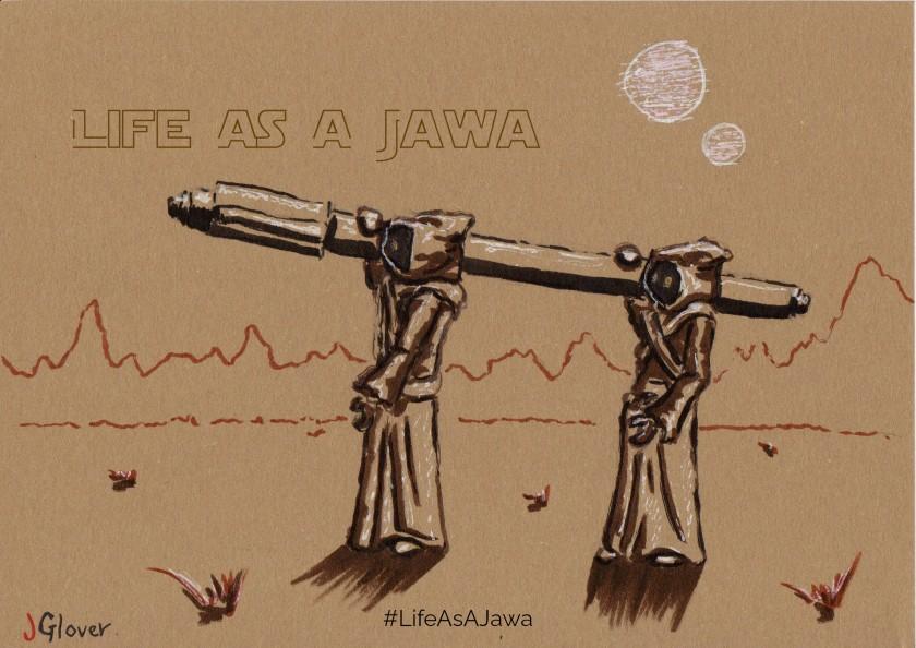 Jawas in Tatooine carrying stuff - Ink drawing - Star Wars art